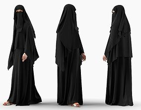3D Woman wearing Saudi Arabian hidshab posed walking