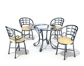 3D Metallic Table Set With Four Chairs