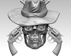 Realistic Guns Revolvers Man skull 3D printable model