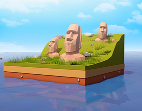 Cartoon Low Easter Island Statues Illustration 3D model