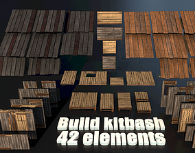 Wood Build Construct Collection - Modular Game 3D model 1