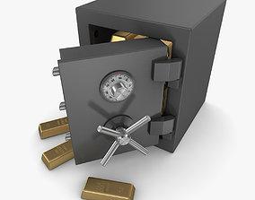 3D asset Safe and Gold Bar