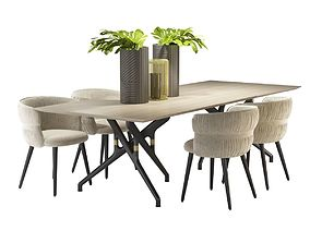 TORSO TABLE 837 TR and POTOCCO COULISSE ARMCHAIR 3D model