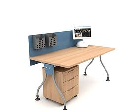 Work Desk With Drawers 3D model