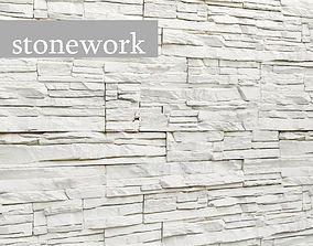 Stone slate wall white 3D