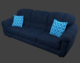 Couch and Pillows - Blue Linen 3D asset