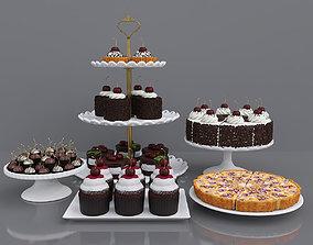tart 3D model Dessert with cherry chocolate cake