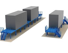 Modular industrial metal platforms 3D model