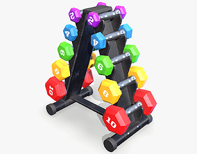 3D model Dumbbell Rack lowpoly