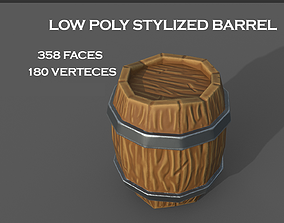 Stylized wooden barrel 3D model