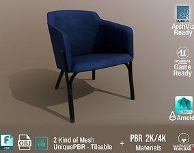 3D asset Ton Split Lounge ArmChair Velvet Design PBR - 2