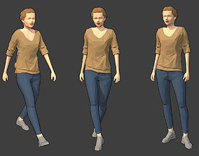 Rigged Lowpoly Female Character - Victoria 3D model