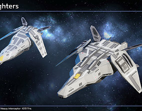 Spaceship Carriers Fighters II 3D asset