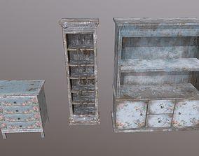 3D asset Vintage old furniture dresser cupboard bookcase