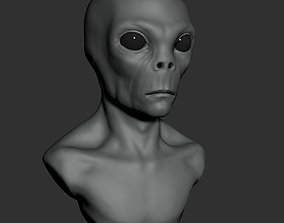Grey Alien Bust ZTL 3D model