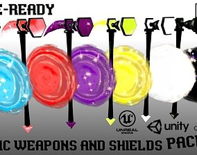 Low-Poly Magic Weapons and Shields Pack 3D model