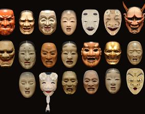 3D asset Japanese Mask Pack Noh Medieval Fantasy Edo 3