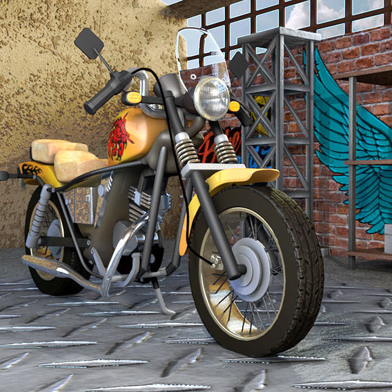 Modified Motorbike in Old Garage