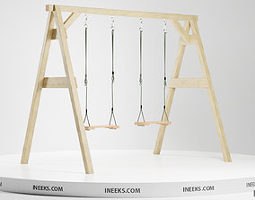 3D Classic wooden swing set with two seats on the ropes