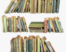 3D model old books on a shelf set 7 mess
