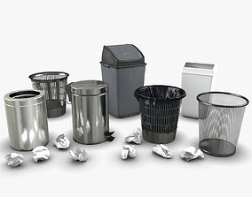 Trash bin and crumpled paper collection 3D model
