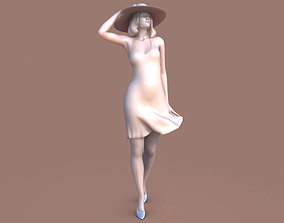 girl Woman Wind Walk 3D printable model