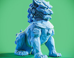 3D printable model Lowpoly Chinese lion guardian sculpture
