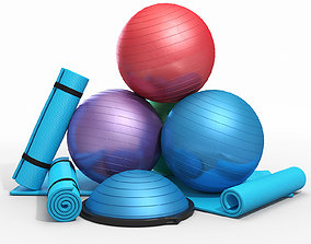Fitness equipment set 3D