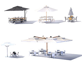 3D Outdoor terrace cantilever umbrella