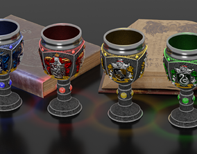 Harry Potter goblets with crests 3D