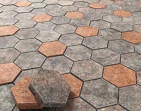 3D Paving stone hexagon