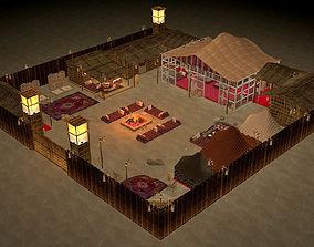 traditional arabic desert safari camp 3D