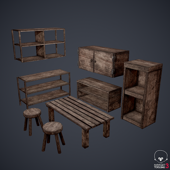 Medieval Tavern Furniture Set