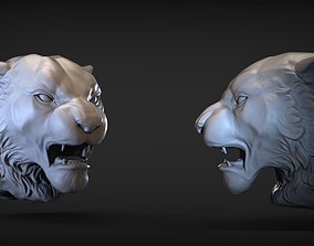 Angry Tiger head 3D printable model