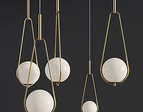 3D model Pendant Lamp Loop Brass White Opaque Glass