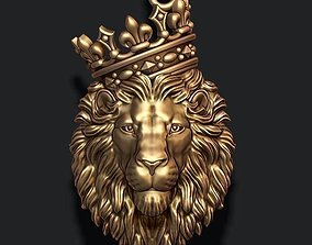 3D print model Lion pendant with crown and closed mouth v4