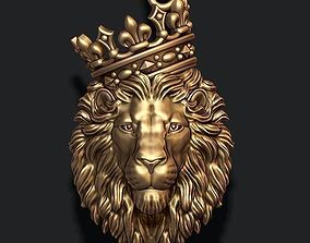 3D printable model Lion pendant with crown and closed 1