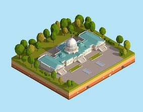 3D asset Cartoon Lowpoly United States Capitol Landmark
