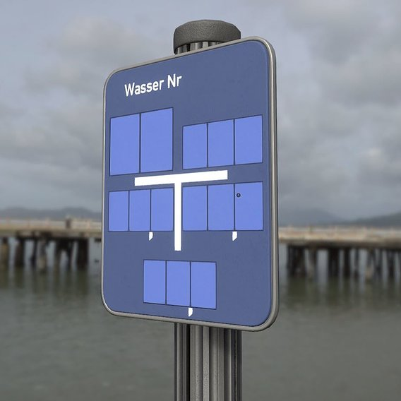 Low poly sign for water with post and frame