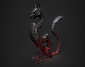 3D PBR Cat statuette