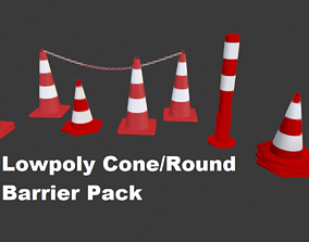 3D asset Lowpoly Cone Barrier Pack