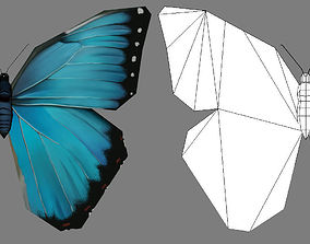 Low-Poly Hand-Painted Morpho Butterfly 3D asset