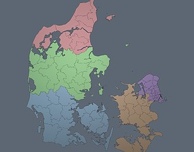 3D asset Denmark - Regions and Roads