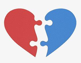 3D model Jigsaw puzzle heart 2 pieces