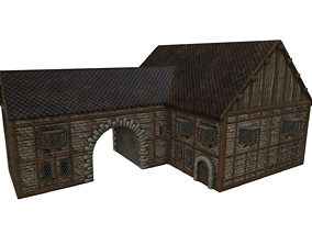 3D asset game-ready PBR unity Medieval house