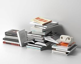3D model Stacks of Books with Howdy Owl Figure