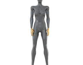 3D Female gray mannequin with gold hands 89