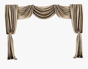 3D brown silk curtain