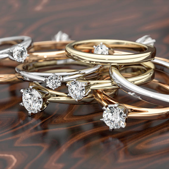Wood Set Solitaire Ring