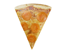 3D asset realtime Slice of Pepperoni Pizza